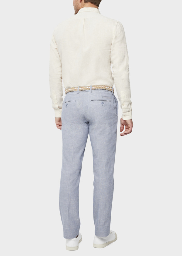 Pantalon coordonnable Slim en coton et lin uni bleu chambray - Father and Sons 38695