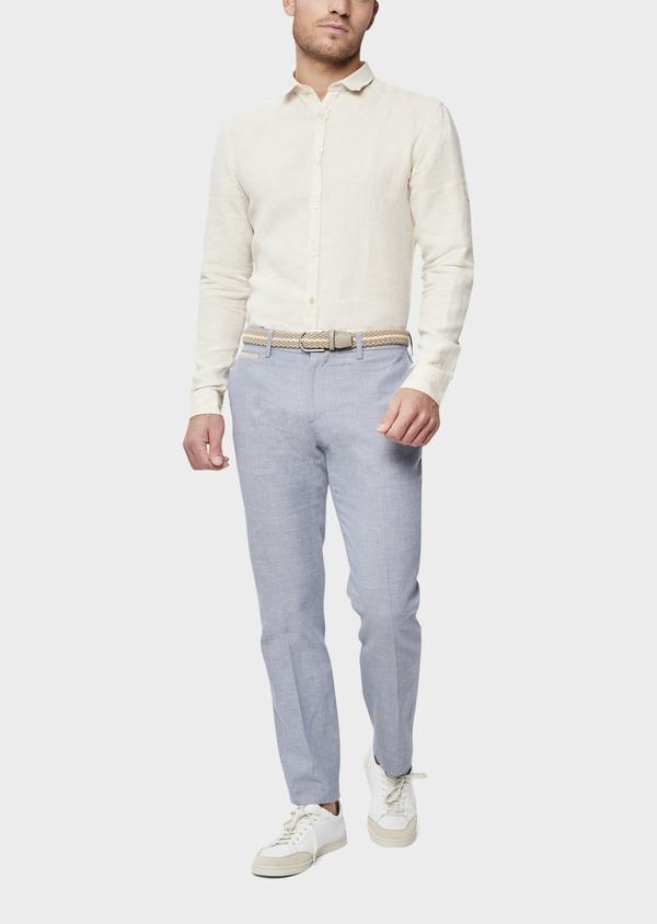 Pantalon coordonnable Slim en coton et lin uni bleu chambray - Father and Sons 38694