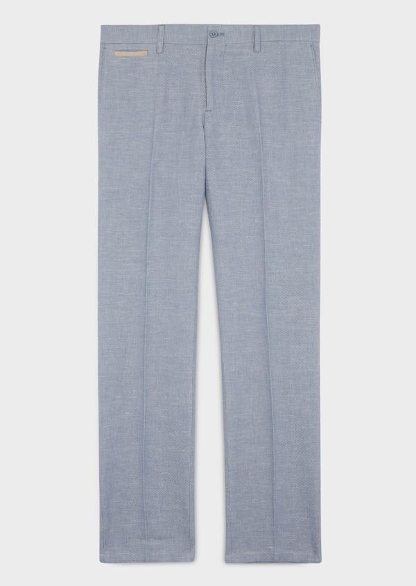 Pantalon coordonnable Slim en coton et lin uni bleu chambray - Father and Sons 38692