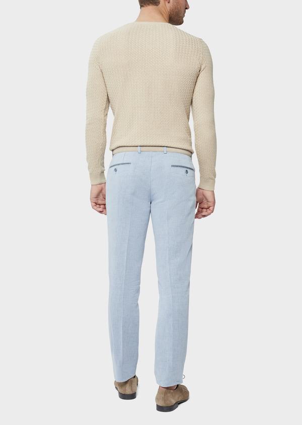 Pantalon coordonnable Slim en coton et lin uni bleu chambray - Father and Sons 38699