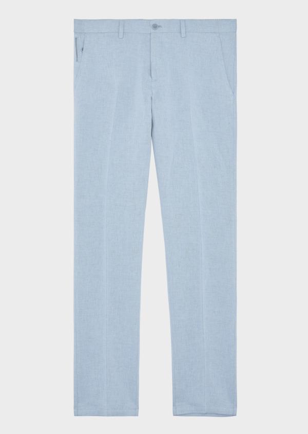 Pantalon coordonnable Slim en coton et lin uni bleu chambray - Father and Sons 38696