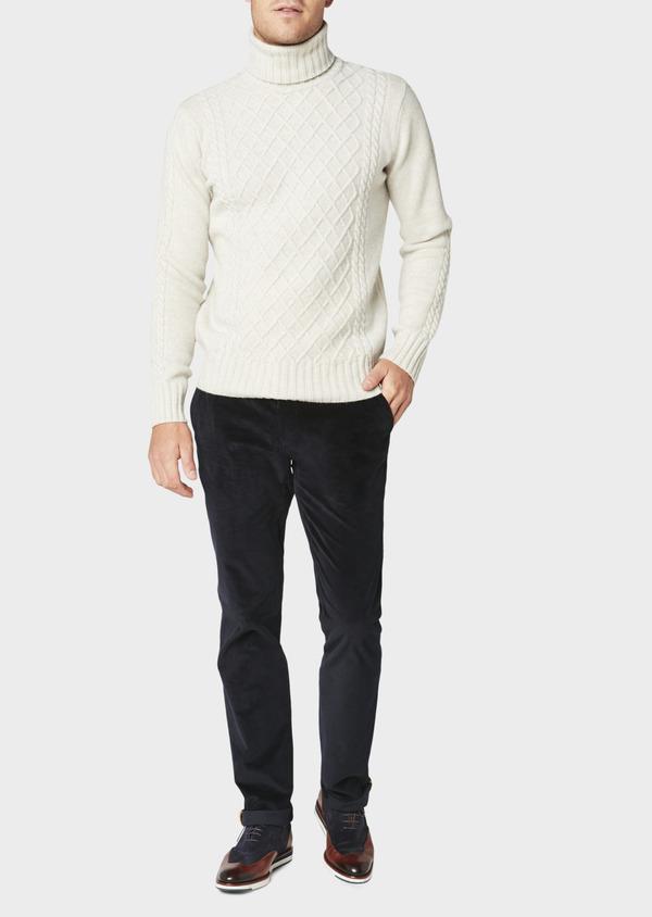 Pantalon coordonnable Slim en velours uni bleu marine - Father and Sons 31107