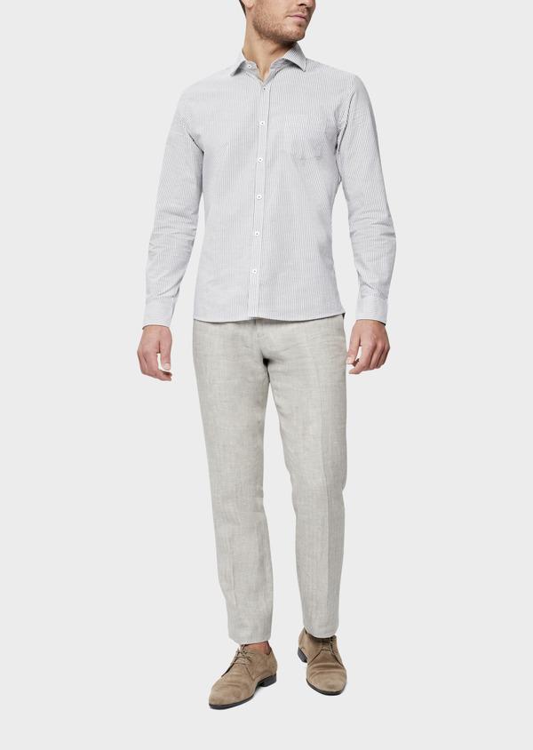 Pantalon coordonnable Slim en lin uni gris - Father and Sons 38706