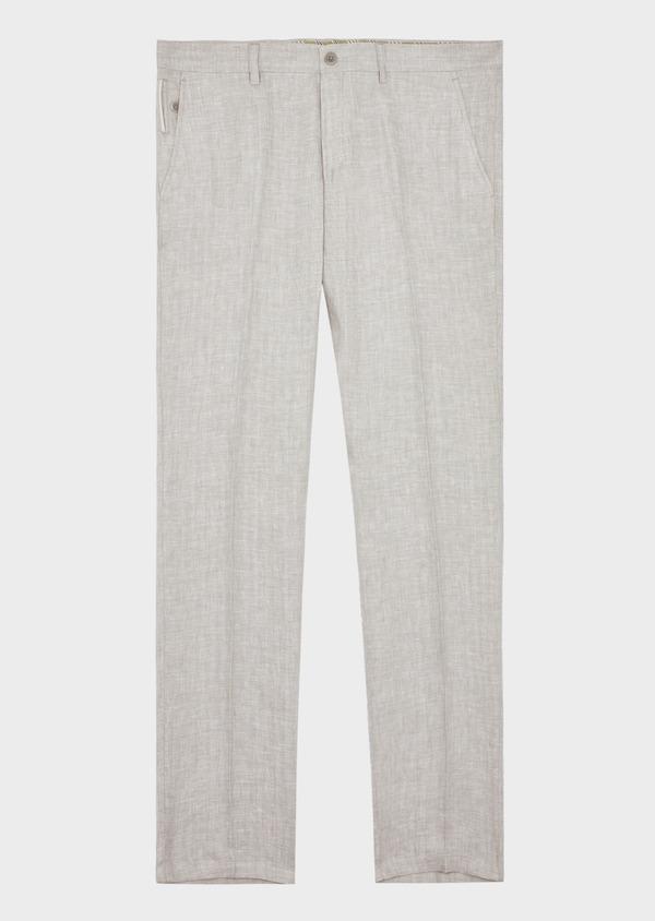 Pantalon coordonnable Slim en lin uni gris - Father and Sons 38704