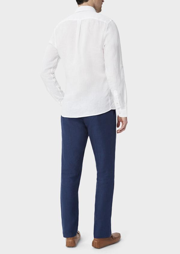 Pantalon coordonnable Slim en lin uni bleu indigo - Father and Sons 40095