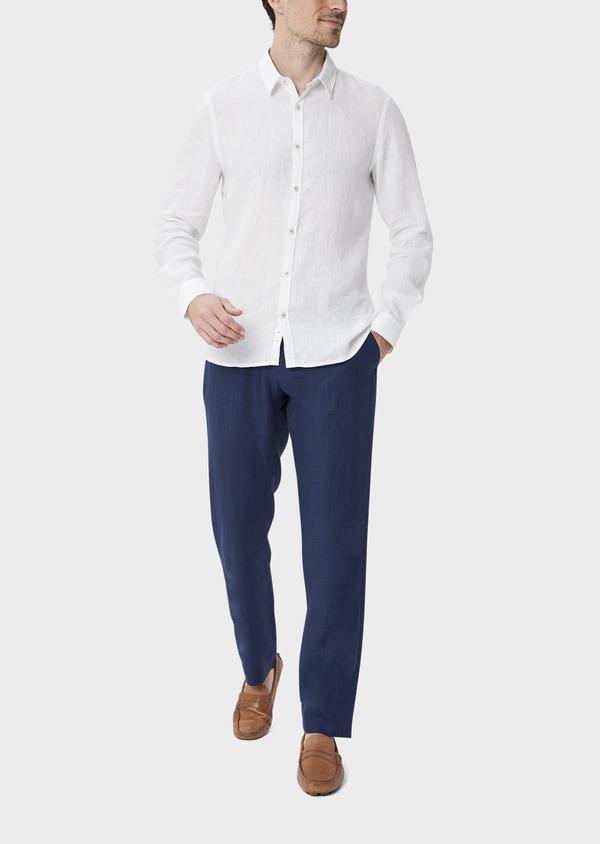 Pantalon coordonnable Slim en lin uni bleu indigo - Father and Sons 40094