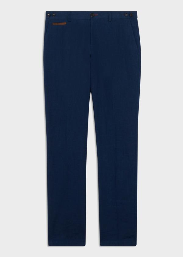 Pantalon coordonnable Slim en lin uni bleu indigo - Father and Sons 40092