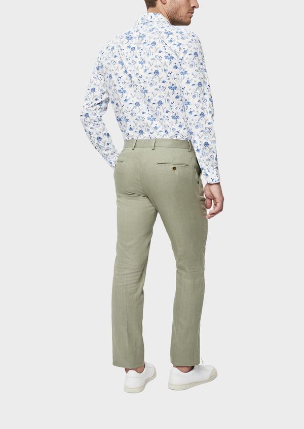 Pantalon coordonnable Slim en lin et coton uni vert kaki - Father and Sons 39212