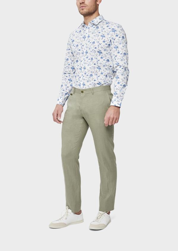 Pantalon coordonnable Slim en lin et coton uni vert kaki - Father and Sons 39211
