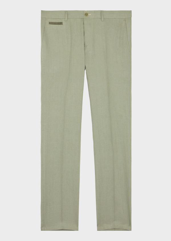Pantalon coordonnable Slim en lin et coton uni vert kaki - Father and Sons 39209