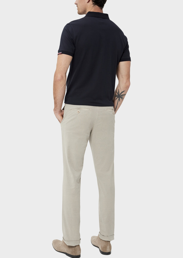 Chino slack skinny en coton à motif fantaisie beige - Father and Sons 34509