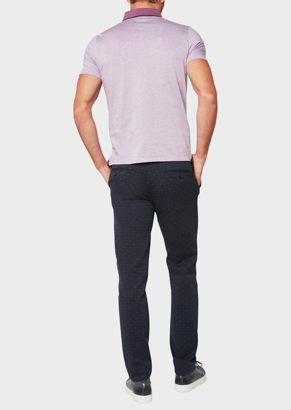 Chino slack skinny en coton stretch à motif fantaisie bleu indigo - Father and Sons 33302