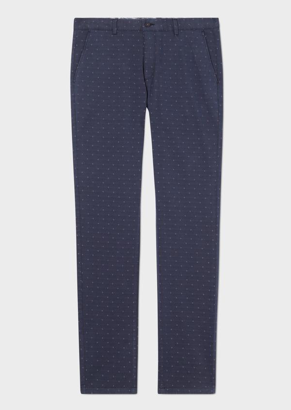 Chino slack skinny en coton stretch à motif fantaisie bleu indigo - Father and Sons 33299