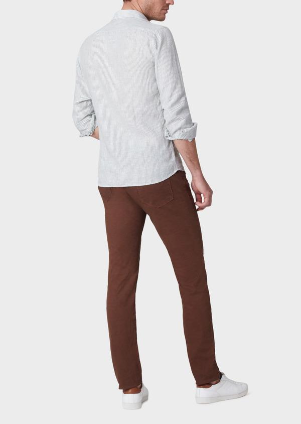 Pantalon casual skinny en coton stretch à motif fantaisie marron - Father and Sons 33909