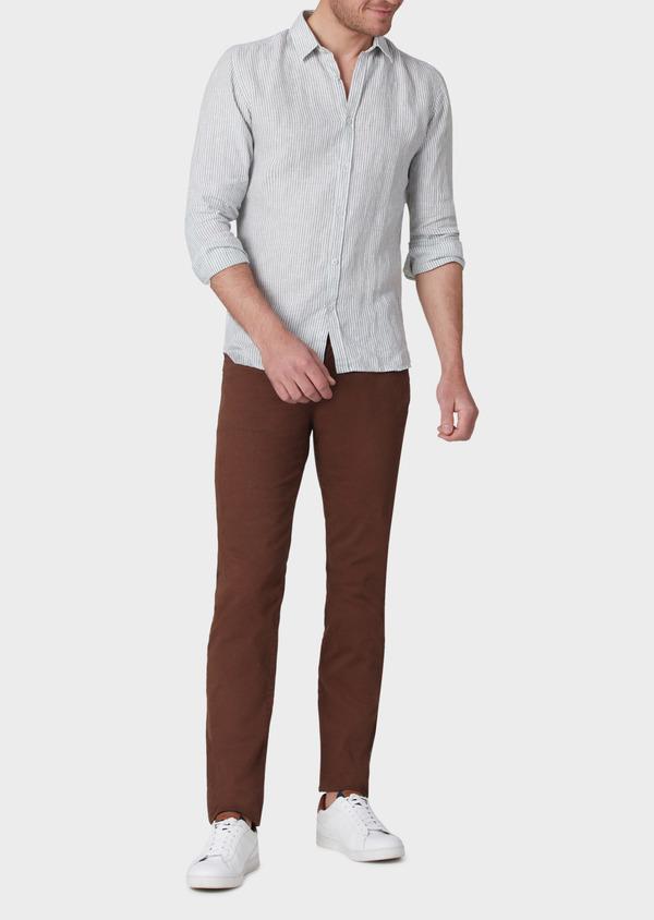 Pantalon casual skinny en coton stretch à motif fantaisie marron - Father and Sons 33908