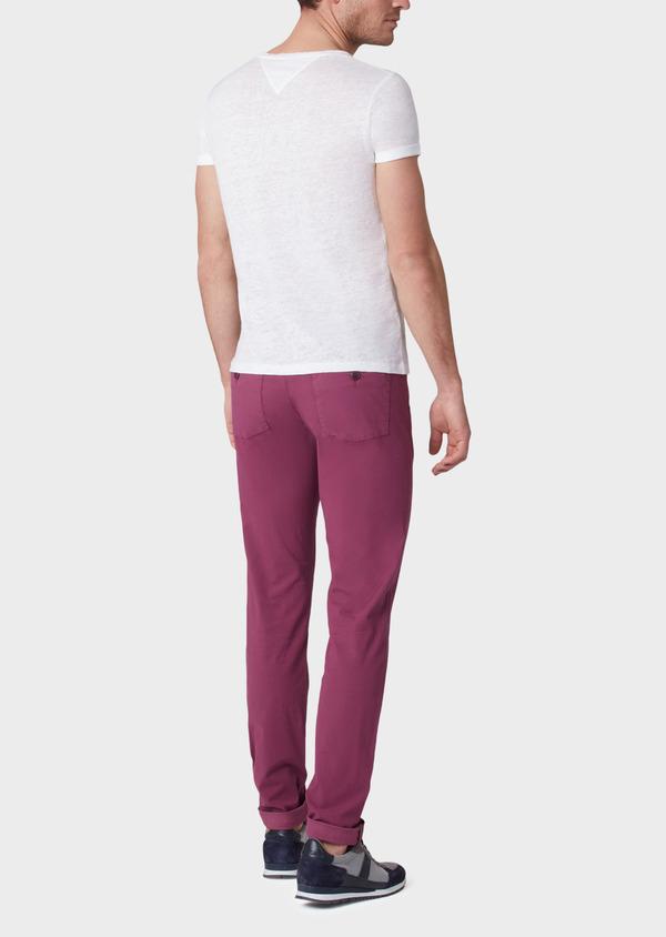 Pantalon casual skinny en coton stretch uni rose foncé - Father and Sons 33921