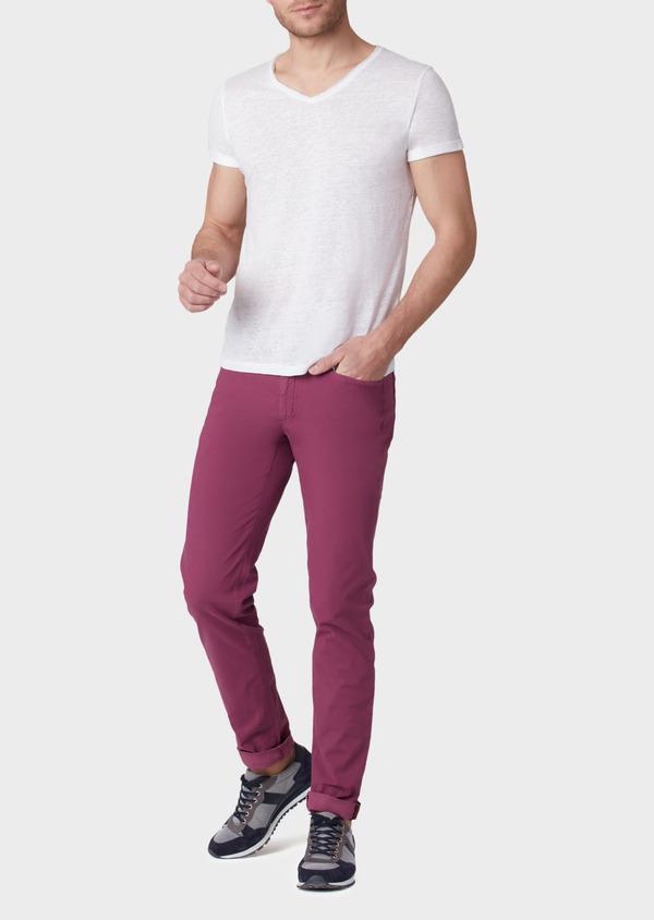Pantalon casual skinny en coton stretch uni rose foncé - Father and Sons 33920