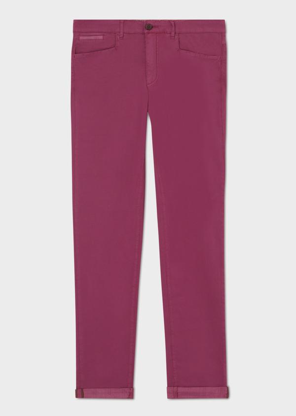 Pantalon casual skinny en coton stretch uni rose foncé - Father and Sons 33918