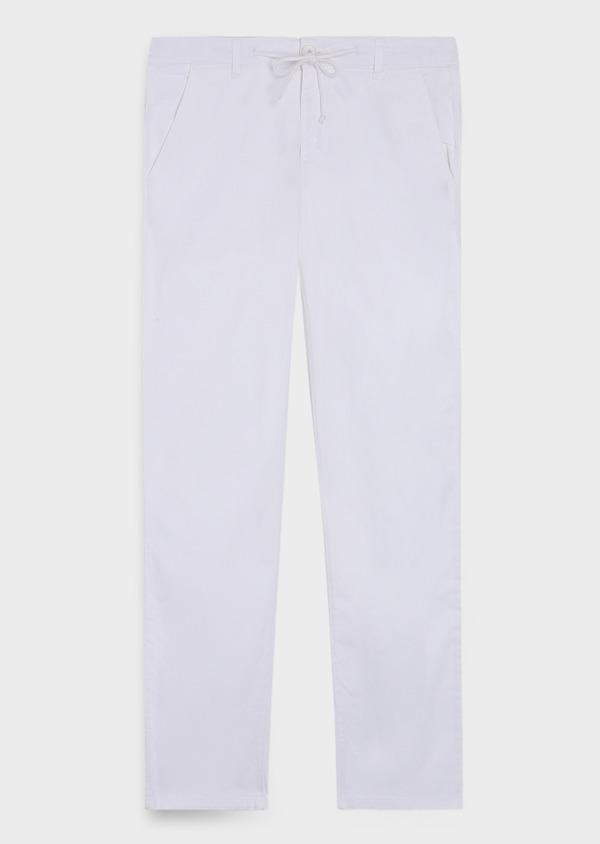 Pantalon casual skinny en coton mélangé uni blanc - Father and Sons 35728