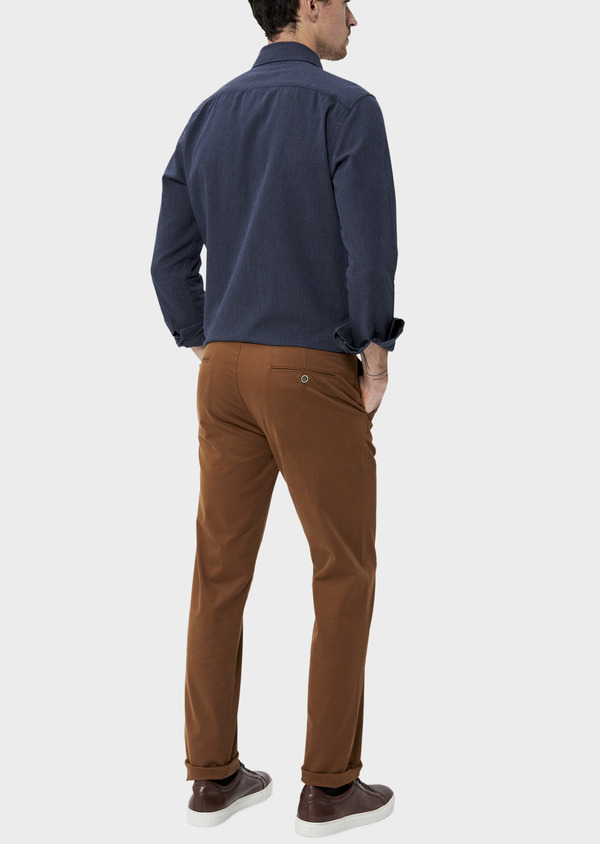 Chino slack skinny en coton stretch uni camel - Father and Sons 35725