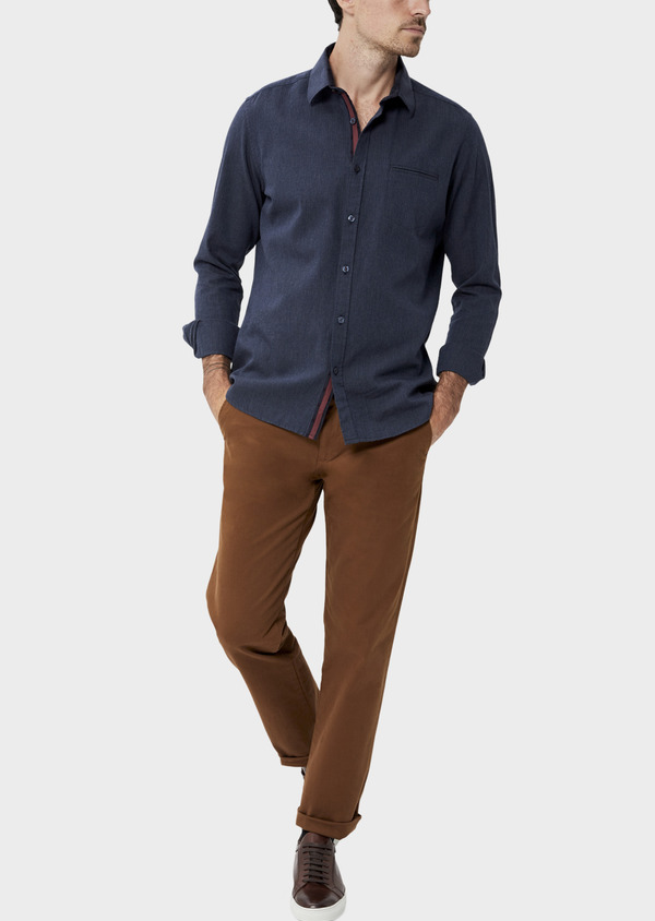 Chino slack skinny en coton stretch uni camel - Father and Sons 35724