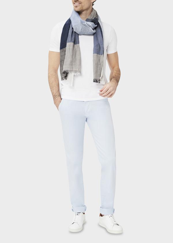 Chino slack skinny en coton stretch uni bleu ciel - Father and Sons 37306