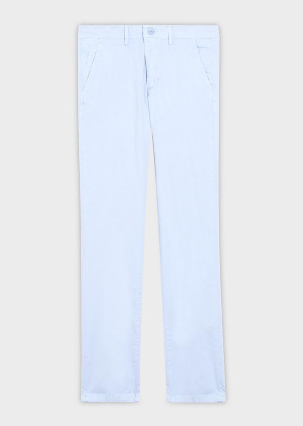 Chino slack skinny en coton stretch uni bleu ciel - Father and Sons 37304