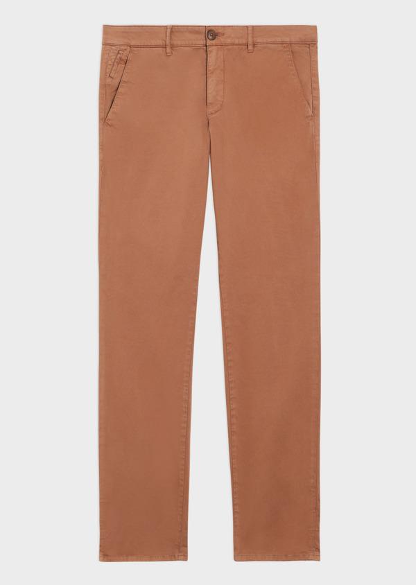 Chino slack skinny en coton stretch uni cognac - Father and Sons 34554