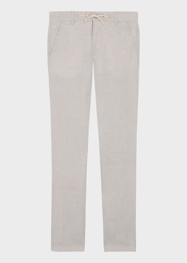 Pantalon casual skinny en lin mélangé uni écru - Father and Sons 35726