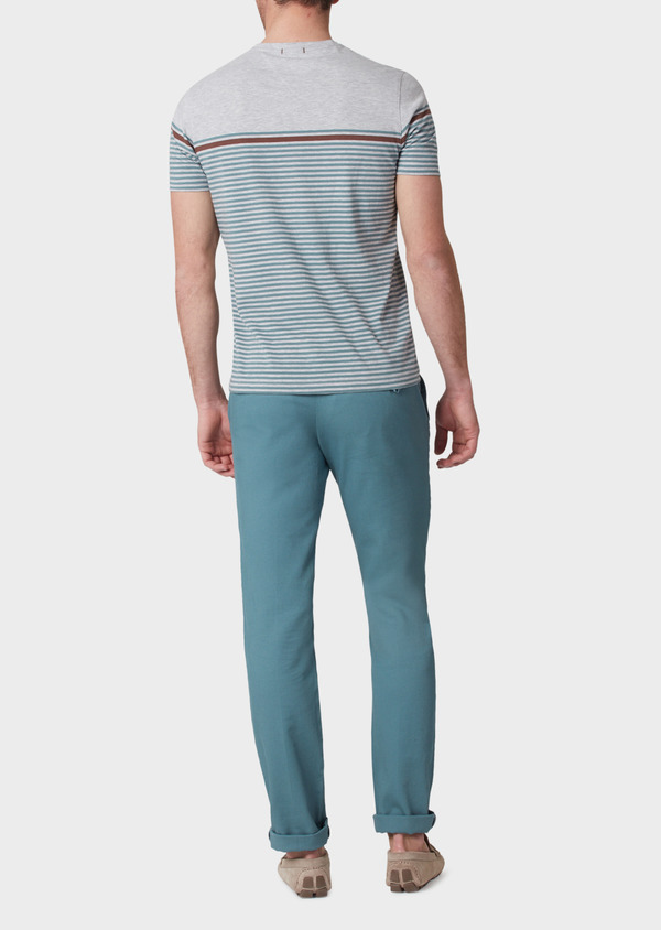 Chino slack skinny en coton stretch uni vert - Father and Sons 33905