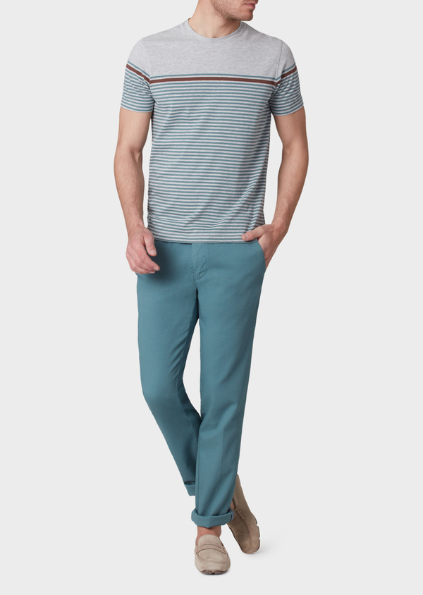 Chino slack skinny en coton stretch uni vert - Father and Sons 33904