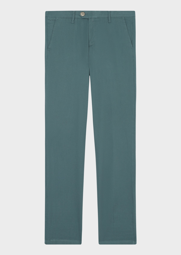Chino slack skinny en coton stretch uni vert - Father and Sons 33902