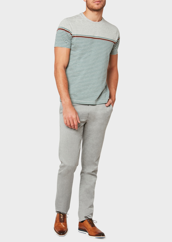 Chino slack skinny en coton stretch uni gris - Father and Sons 33323