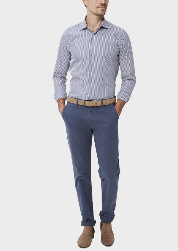 Chino slack skinny en coton stretch uni bleu indigo - Father and Sons 34462