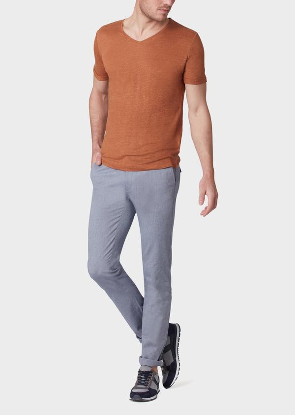 Chino slack skinny en coton stretch uni bleu - Father and Sons 34152