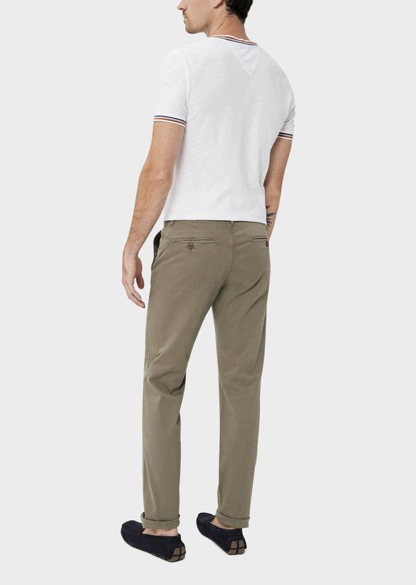 Chino slack skinny en coton uni vert kaki - Father and Sons 34517