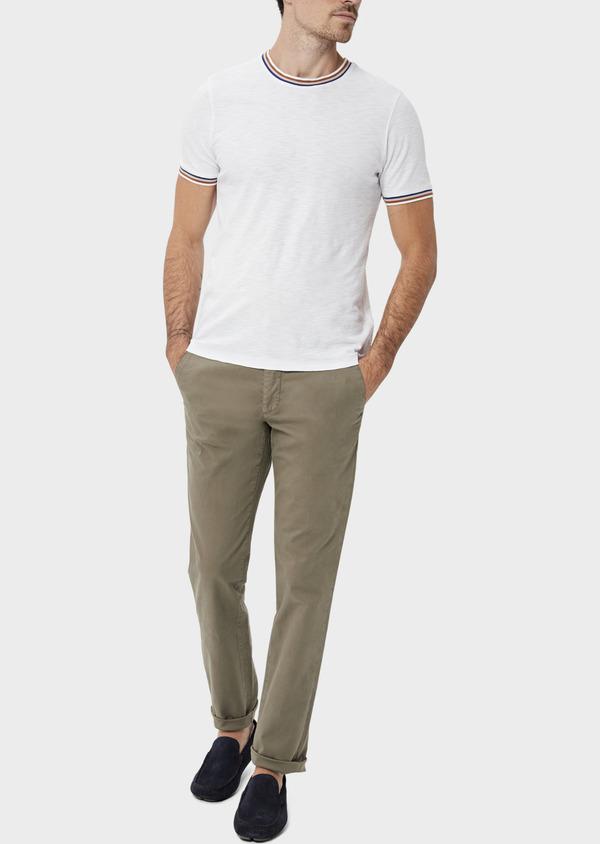 Chino slack skinny en coton uni vert kaki - Father and Sons 34516