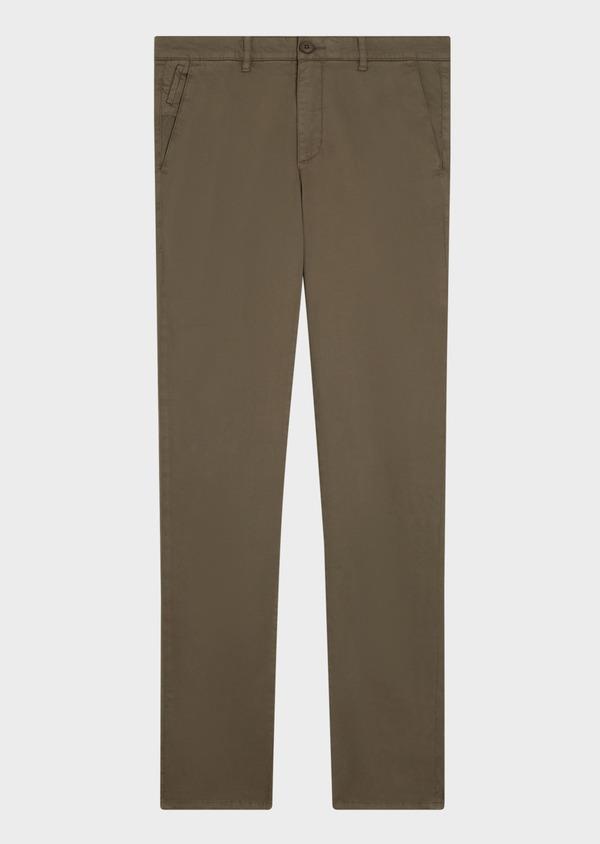 Chino slack skinny en coton uni vert kaki - Father and Sons 34514