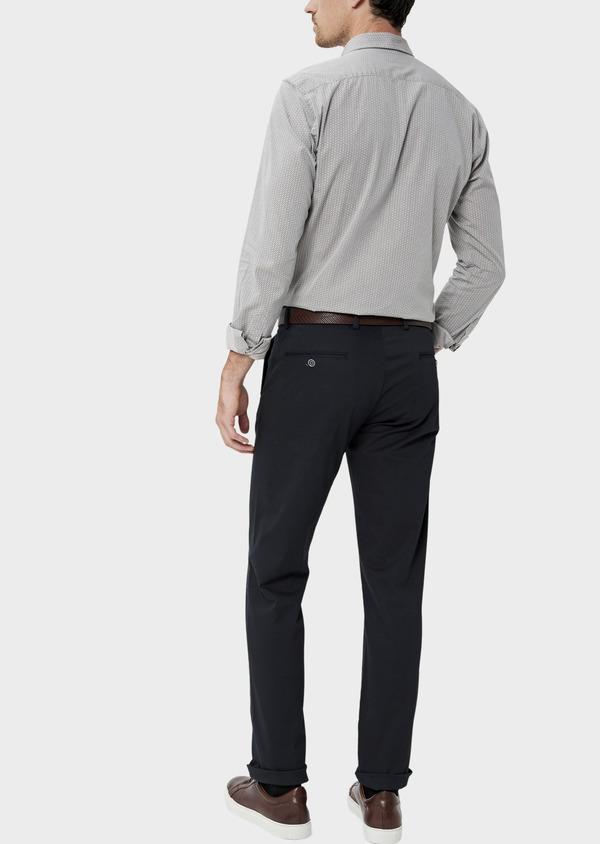 Chino slack skinny en coton stretch uni bleu marine - Father and Sons 34455