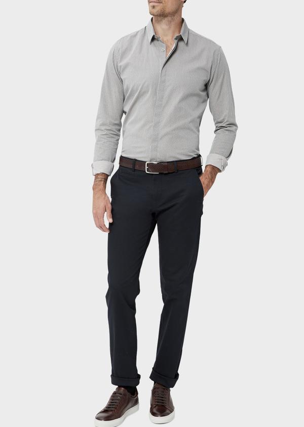 Chino slack skinny en coton stretch uni bleu marine - Father and Sons 34454