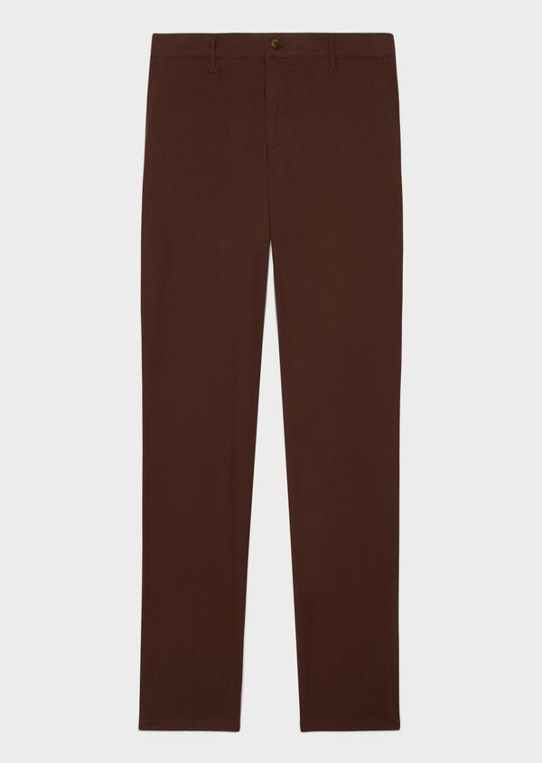 Chino slack skinny en coton stretch uni marron - Father and Sons 33894