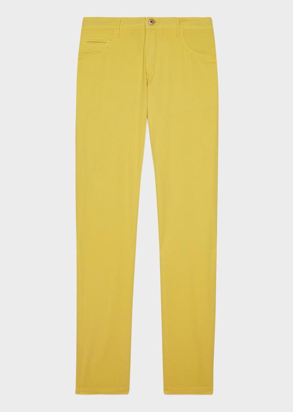 Pantalon casual skinny en coton stretch uni jaune - Father and Sons 33303