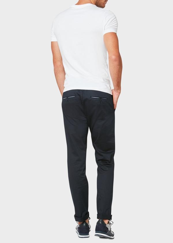 Pantalon jogging en coton stretch à rayures bleu marine - Father and Sons 33280