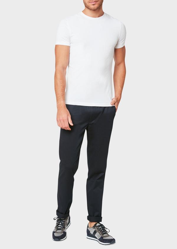 Pantalon jogging en coton stretch à rayures bleu marine - Father and Sons 33279