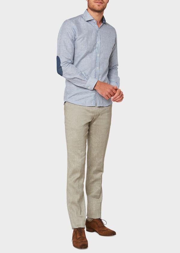 Pantalon coordonnable slim en lin mélangé uni vert kaki - Father and Sons 34190