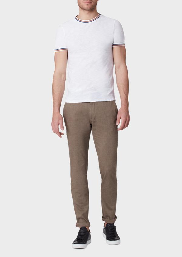 Pantalon coordonnable slim en coton mélangé uni marron - Father and Sons 33892