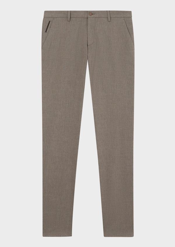 Pantalon coordonnable slim en coton mélangé uni marron - Father and Sons 33890