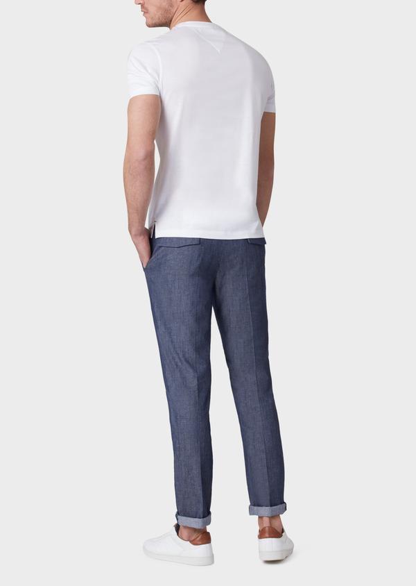 Pantalon coordonnable slim en coton mélangé uni bleu - Father and Sons 33901