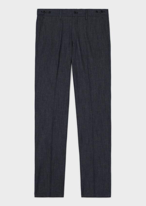 Pantalon coordonnable slim en coton mélangé uni bleu - Father and Sons 33898