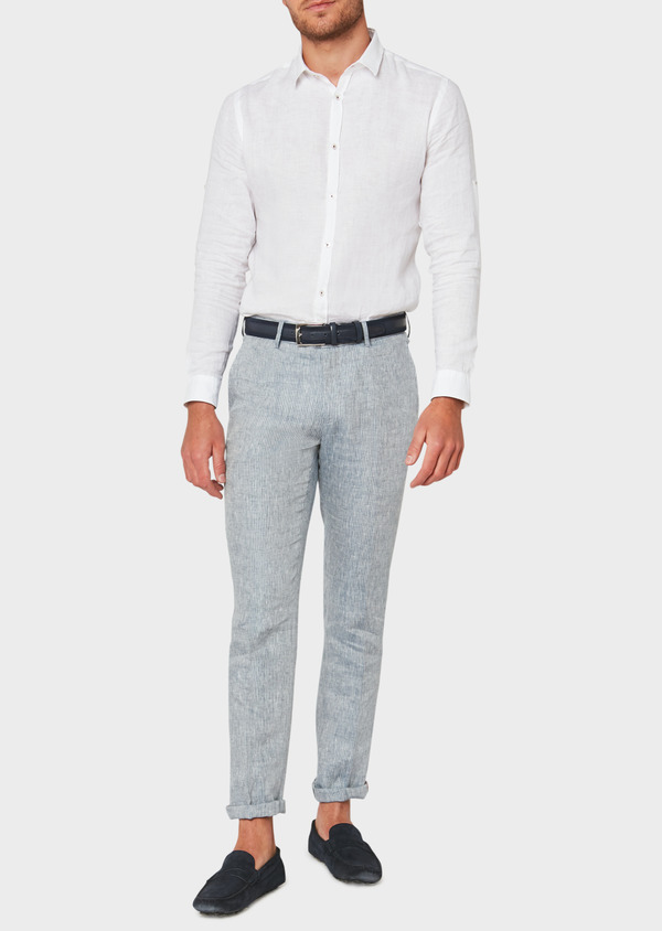 Pantalon coordonnable slim en lin uni bleu - Father and Sons 33319